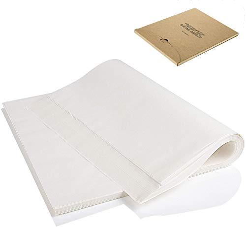 Qunlei Lot de 200 feuilles de papier sulfurisé plat - 30 x 40 cm - Antiadhésif - Prédécoupé - Pour la cuisson au four, la friteuse à l air, la cuisson à la vapeur - Pour pain, gâteaux, cookies - Blanc