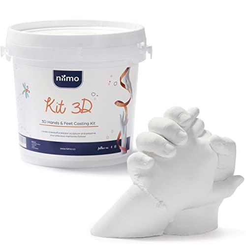 Niimo 3D Kit Huella Niños Familias Adultos Kit 3D Completo Alginato para Moldes de Manos y Yeso Envase y Herramientas Fácil Elaboración Esculturas Realistas