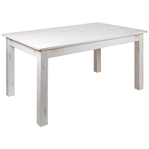 "Flash Furniture HERCULES Series 60"" x 38"" Rectangular Antique Rustic White Solid Pine Farm Dining Table"