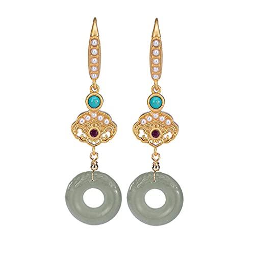 SALAN Pendientes Colgantes De Botones De Paz De Belleza Oriental para Mujer Pendientes De Turquesa De Jade De Perlas Naturales De Plata 925