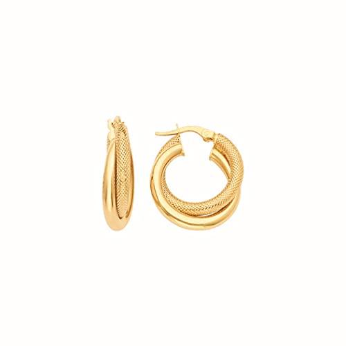 Pendientes de aro con cerradura de oro amarillo de 14 quilates para mujer