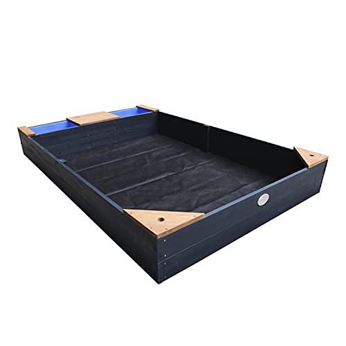 AXI Kelly bac à sable en bois avec banc et récipients pour l'eau   Bac à sable pour enfants en anthracite et brun   180 x 115 cm
