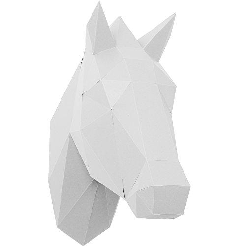 PaperShape Pferd 3D ohne kleben, ausgeschnitten, vorgefalzt. Wand-Trophäe als Wandkunst aus FSC-Papier in 3 modernen Farben Pferd-Kopf Maße 37 x 13 x 33cm. Made in Germany (pure white)