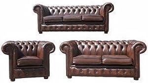Designer Sofas4u Chesterfield 3+ 2+ 1Funda de Piel sofá Oferta