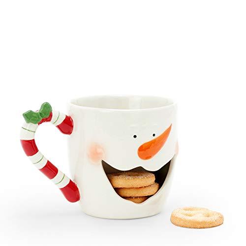 D-Mail Tazza in Ceramica con Porta Biscotti - Pupazzo di Neve