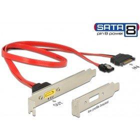Delock 84951 Slotblech SATA 6 Gb/s 7 Pin Buchse + SATA 15 Pin Strom Stecker intern auf SATA Stecker Pin 8 Power extern Rot