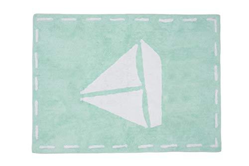 Aratextil. Alfombra Infantil 100% Algodón lavable en lavadora Colección Galeon Mint 120x160 cms