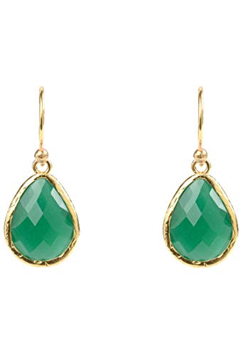 Petite Drop Earring Green Onyx Gold