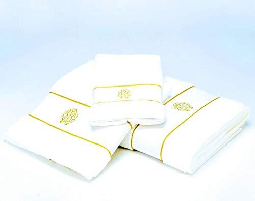 Roberto Cavalli Set de toallas de baño 100 x 150 cm y toalla 60 x 110 cm, color dorado blanco