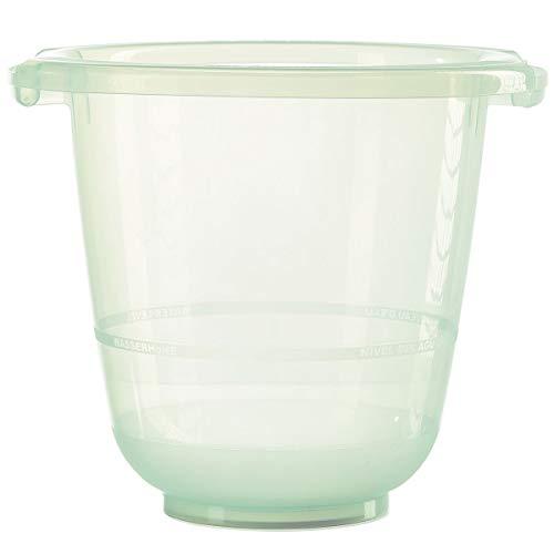 Tummy Tub Badeeimer/Babybadewanne für Früh- Neugeborene und größere Babys/Badewanne Kunststoff transparent/kippsicher und rutschsicher/ab Geburt bis 36 Monate, Design:grün