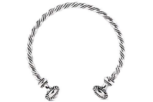 Windalf Handmade Celtic Männer Armreif Tristan Ø 6.5 cm Latènezeit Mediaval-Arm-Silberschmuck Replika Kelten-Schmuck Handgeschmiedet 925 Sterlingsilber
