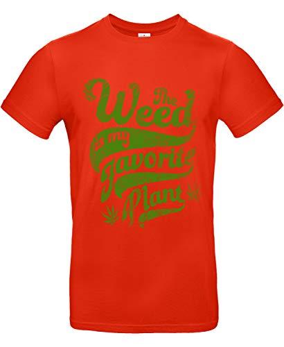 Smilo & Bron Herren T-Shirt mit Motiv Weed Bedruckt Rot Fire Red L