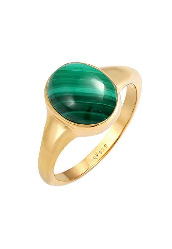 Elli PREMIUM Ring Damen Siegelring Elegant Grün mit Malachit 925 Sterling Silber Vergoldet