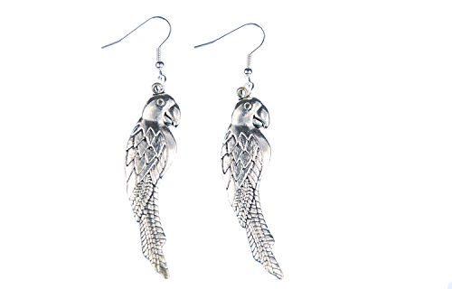 Miniblings loro aves pendientes de aves exoticas loros guacamayos 6cm de plata - joyería hecha a mano de plata de la manera Pendientes plateado I