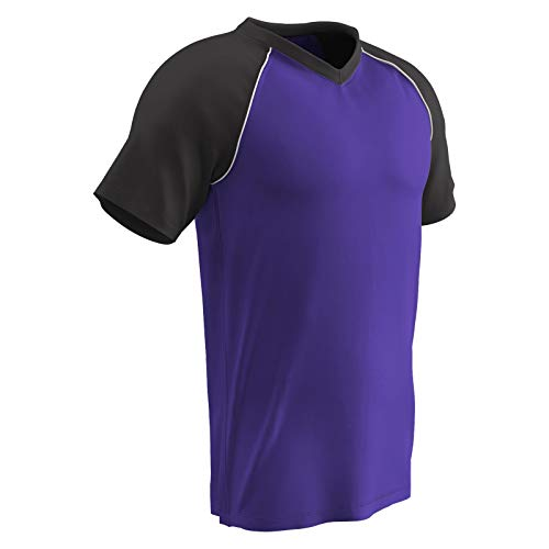 CHAMPRO Bunt Light Weight Mesh Jersey - Baseball, Soccer, Youth Large, Purple,Black,White