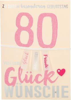 100% glitter verjaardagskaart gelegenheidskaart vouwkaart 10496-013: 80 - Voor deze bijzondere verjaardag.