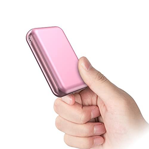 Batería Externa 10000mAh【PD22.5W Carga Rapida 5A】 Power Bank USB C con Pantalla LCD Cargador Portátil Carga Rápida 2 Entradas y 3 Salidas para Smartphones, Tablets y más (Oro Rosa)
