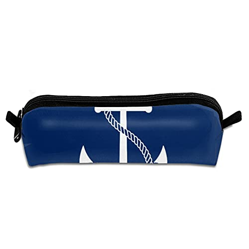 Estuche para lápices de oficina, portátil, bolsa de almacenamiento de lona, bolsa de maquillaje para estudiantes escolares, niños y niñas, nombre personalizado náutico azul marino con ancla blanca