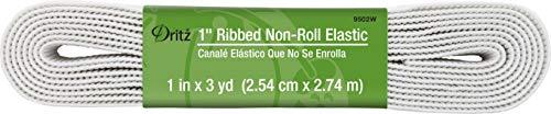 Dritz 9502W 1' Ribbed Non-Roll Elastic, White