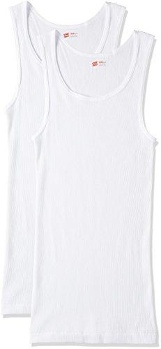 [ヘインズ] タンクトップ(2枚組) 綿100% 柔らかい肌触りリブ編み動きやすい赤パック2PAシャツ HM2-K701 メンズ ホワイト M