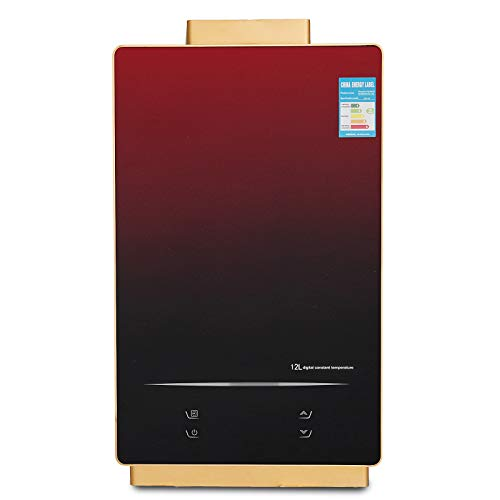 Happybuy 12L Natural Gas Water Heater 24KW Gas Instant Water Heater,Anti-rust Carbon Steel Case, Temperature Control,LCD Screen Display Hot Water Heater with a Showerhead Kit