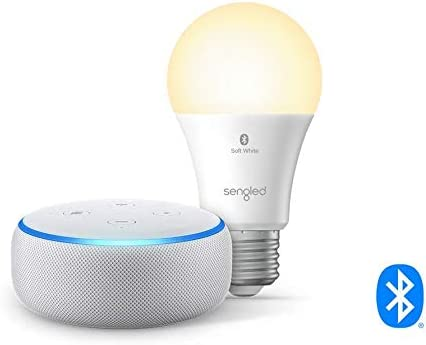 Echo Dot 3rd Gen Smart speaker with Alexa Sandstone Sengled Bluetooth bulb product image