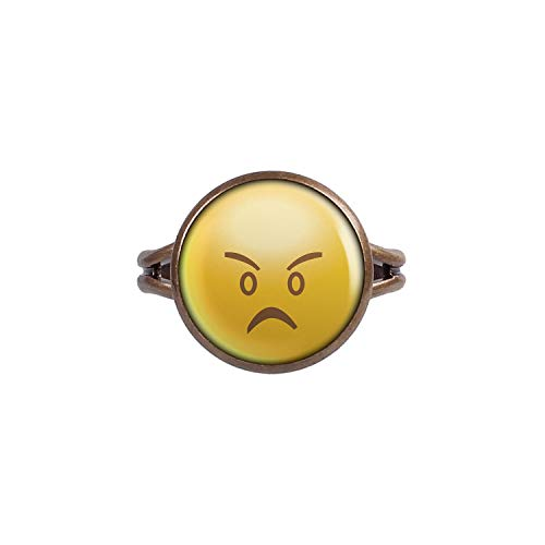 Mylery Anillo con Motivo Smileys Emoji Smiley Cara no. 19 Bronce 14mm