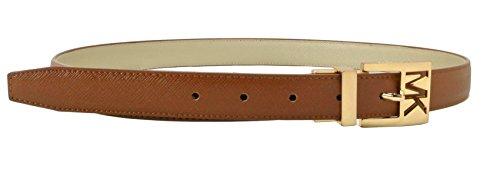 Michael Kors Womens Twist Reversible Leather Gold Buckle Belt Brown - Large