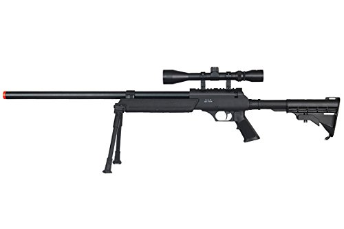 Well Full Metal ASR MB06 SR-2 Spring Sniper Rifle Airsoft Gun (Black/Scope & Bipod Package)
