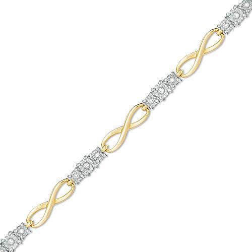 SLV Pulsera infinita de diamantes de corte redondo D/VVS1 de 0,50 quilates de T.W.en plata 925 chapada en oro amarillo de 10 quilates