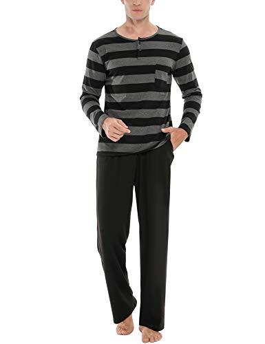 Akalnny Herren Schlafanzug Lang Baumwolle Zweiteiliger Pyjama Set Winter Warm Langarm Nachtwäsche Grau M