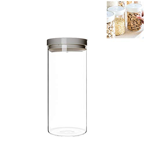 PLHMS Borosilicate Glass Jar, Food Storage Jar with Lid, Airtight Container Canister, for Tea Coffee Sugar Pop Flour BPA Free,White