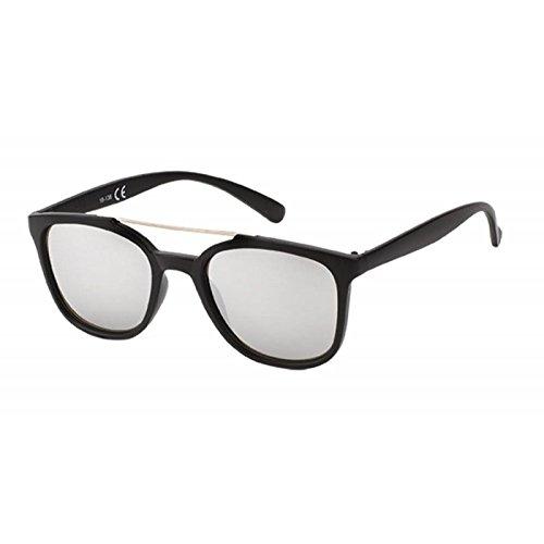 Chic-Net Sonnenbrille Retro 400 UV Metallsteg Doppelsteg dünn verspiegelt Silber