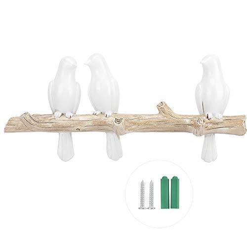SANON Ganci Appendiabiti Uccelli Decorativi in ??Resina sul Ramo di Un Albero Appendiabiti a Parete...