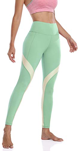 Anwell Sport Leggings Damen mit Tasche Yoga Pants High Waist figurformend Tights Push Up Laufhose Split Shape Grün M