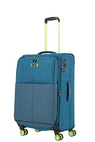 Gepäck Serie PROOF: Weichgepäck Trolley von Travelite in frischen Kontrastfarben, 4-Rad Koffer Gr. M mit TSA Schloss + Dehnfalte, 092348-22, 68 cm, 61 Liter (erweiterbar auf 66 Liter), Petrol (Türkis)
