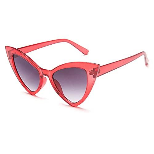 WQZYY&ASDCD Gafas de Sol Gafas De Sol Vintage con Forma De Ojo De Gato para Mujer, Gafas De Sol De Plástico A La Moda para Mujer, Anteojos De Gran Tamaño, Rojo