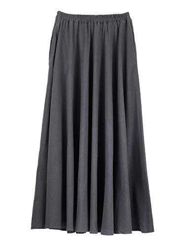 Damen Mädchen Leinen Baumwolle Maxirock Tellerrock Langer Rock mit Seitentaschen Elastischer Bund Retro Vintage Einfach Schick Rocklänge 90cm - Einfarbig Dunkelgrau