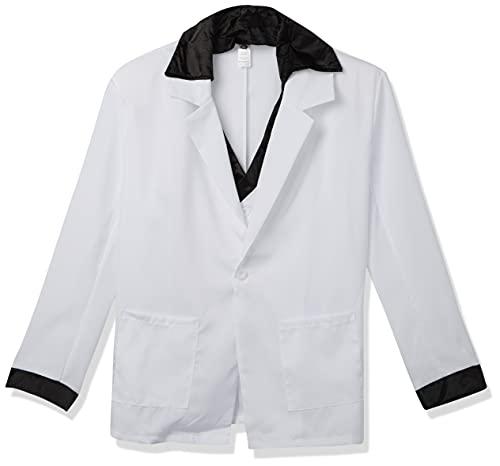 Smiffys Costume des années 70, blanc, veste avec fausse chemise, gilet et pantalon, Taille L