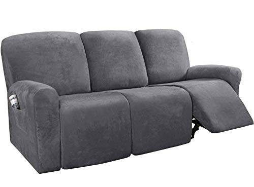 HKPLDE Stretch Recliner Sofa Slipcover, Soft 3 Seats Couch Cover, Velvet Washable Furniture Protector With Elasticity For Kids,Pet-gray