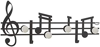 TREBLE CLEF AND NOTE SET OF 3 COAT HANGERS ITALIAN DESIGN - BLACK by Artiemestieri