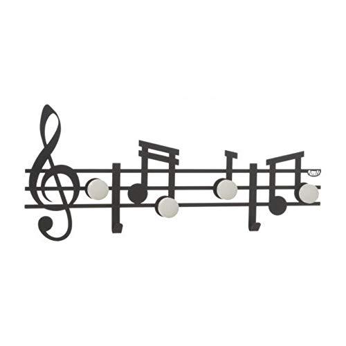 Arti & Mestieri Note Musicali - Set di Ganci (3 Pezzi) da Muro Appendiabiti di Design 100% Made in Italy - in Ferro, 12 x 30 cm - Nero Goffrato