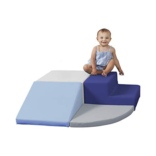 SoftScape Toddler Playtime Corner Climber, Indoor Active Play Structure for Toddlers and Kids, Safe Soft Foam for Crawling and Sliding (4-Piece Set) - Navy/Powder Blue