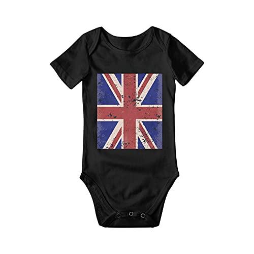 mengmeng Mono de algodón de manga corta para recién nacido, diseño británico, bandera patriota Inglaterra, Reino Unido, humor para bebé o niña, Negro, 2 años