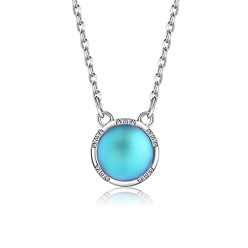 Yandm Sterling Silver Round Moonstone O-Chain Pendant Necklace for Women Engagement Wedding Gift Svn464-A