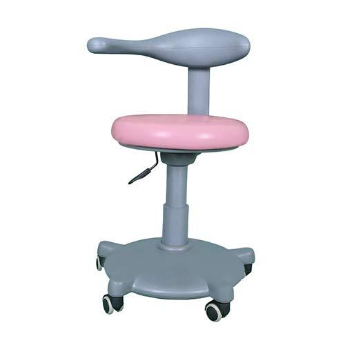 HYRL Dentista Silla, Multi-función Rotary Lift Taburete Dental Ajustable Silla móvil PU médico Asiento del Doctor (3 Colores Opcionales),Pink