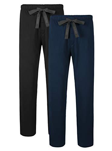 DAVID ARCHY Men's Comfy Jersey Soft Cotton Knit Pajama Long John Lounge Sleep Pant in 2 Pack (L, Black/Navy Blue)