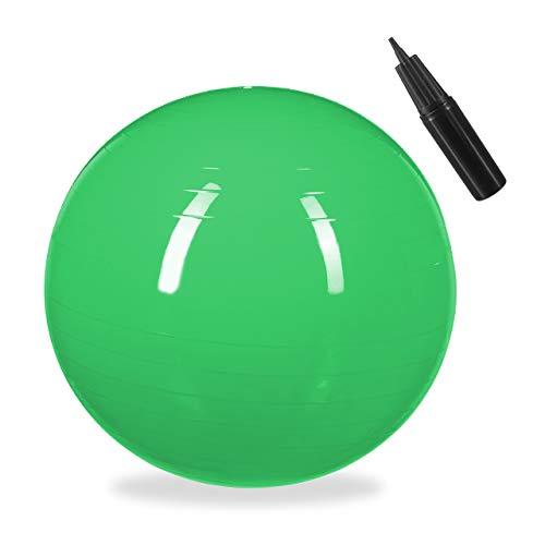 1 x Gymnastikball, Fitnessball Yoga & Pilates, Sitzball Büro, Balance Ball inklusive Luftpumpe, Ø 55 cm, grün