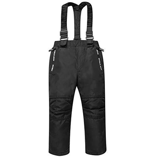 Skibroek, kinderen, tuinbroek voor jongens, meisjes, sneeuwbroek van dons, sneeuwbestendig, twee zakken, afneembare schouderriemen, versterkte knie, enkelopening, 3 - 8 jaar 120 / 5-6 ans (105-115cm) zwart.