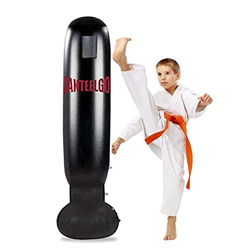 JanTeelGO Sacco da Boxe da Terra, Sacco da Boxe 160 cm per Adulti Bambini, Pratica di Karate, Taekwondo, Allenamento di Calcio con Decompressione (Nero)